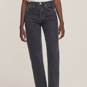 Talula x Agolde high rise tapper dark grey jeans